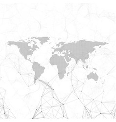 chemistry pattern dotted world map connecting vector image vector image