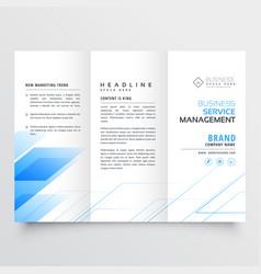 Elegant blue business tri-fold brochure flyer vector