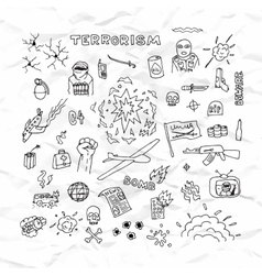 Freehand terrorism doodles on crumpled paper vector image
