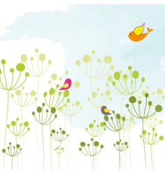 springtime colorful bird floral wallpaper vector image vector image