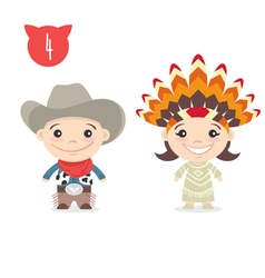 two happy cute kids characters Boy in cowboy vector image vector image