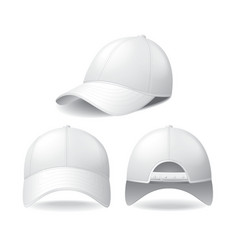 White baseball cap isolated on white vector image