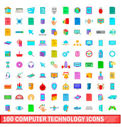 100 computer technology icons set cartoon style vector