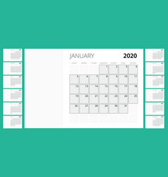 2020 year calendar holiday event planner week vector