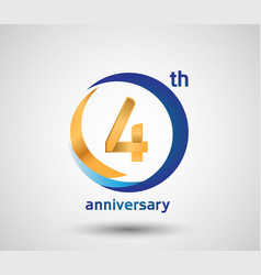 4 anniversary design with blue and golden circle vector