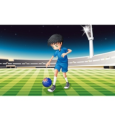 A boy at the field using the flag of New Zealand vector