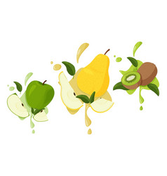 Apple pear and kiwi fruits with green leaves vector