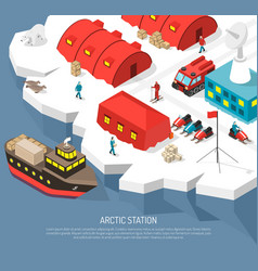 Arctic polar station isometric poster vector