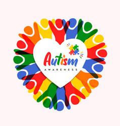 Autism awareness day diverse heart shape kid card vector