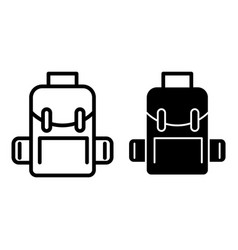 Backpack line and glyph icon school bag vector