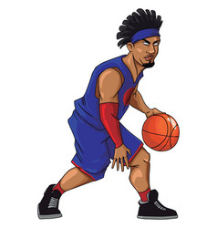 basketball player in purple jersey dribbling on vector image