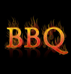 Bbq grill text icon vector