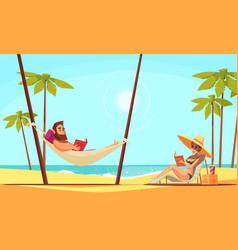 Beach reading background vector