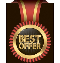 Best offer golden label with red ribbons vector image