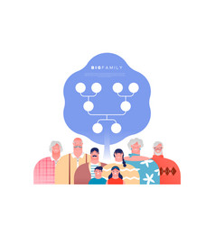 big family people set with genealogy tree template vector image