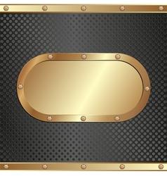 Black background with golden banner vector