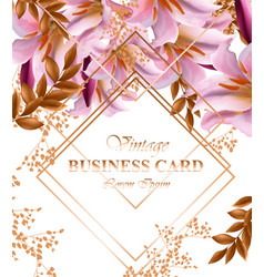 Business card with beautiful pink flowers golden vector