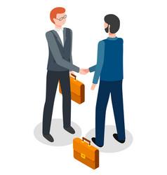business men shake hands making a deal trade vector image