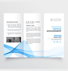 Business tri-fold brochure design with blue vector