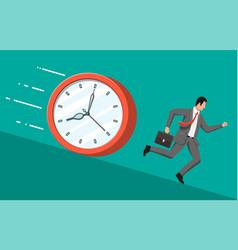 Businessman is fast running from big clock vector