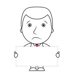 businessman line cartoon face sad expression holdi vector image