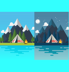camping tent with landscape at day and night vector image
