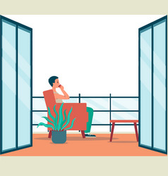 Cartoon man sitting in cozy balcony interior with vector
