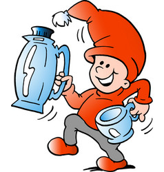 cartoon of an happy elf there runs a pitcher and vector image