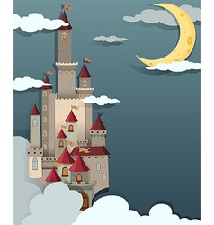 Castle scene at night time vector image