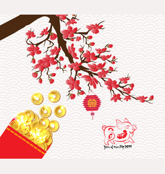 Chinese new year 2019 plum blossom red packet vector