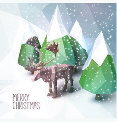 Christmas greeting card with low poly vector