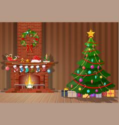 christmas interior room vector image