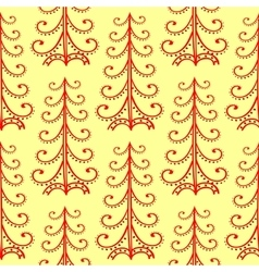 Christmas tree ethnic ornament seamless pattern vector image
