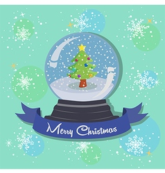 Christmas Tree Snowball Snowflakes vector image