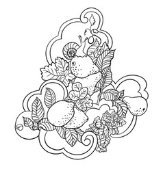 coloring pages with fruits and abstract waves for vector image