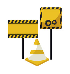 Cone with signage in sticks vector