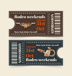 Cowboy ticket design with gun sack rope vector
