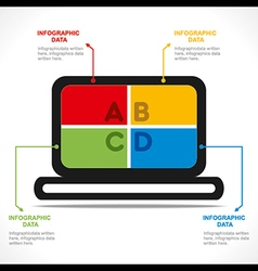 creative laptop info-graphics design vector image