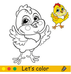 Cute chicken coloring with colorful template vector