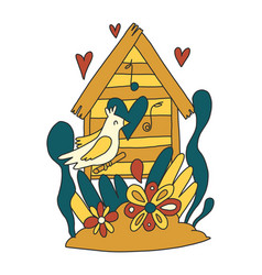 Cute windy with birdhouse and bird in vector