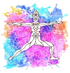 decorative yoga pose on abstract multicolored vector image