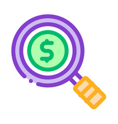 Dollar sign in magnifier glass center icon vector