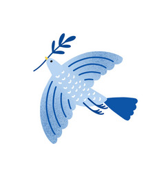 dove with olive branch bird vector image