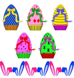 Easter eggs with ribbons and ears of rabbit vector