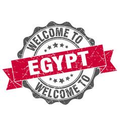 Egypt round ribbon seal vector