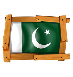 Flag of pakistan on wooden frame vector