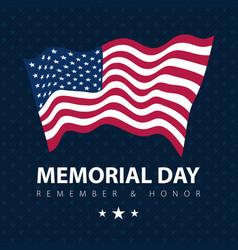 flag usa on blue poster memorial day celebration vector image