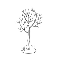 flat green abstract tree without foliage vector image