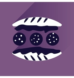 Flat with shadow Icon Burger on stylish background vector