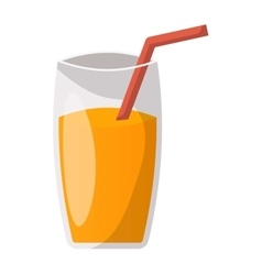 Glass of orange juice vector